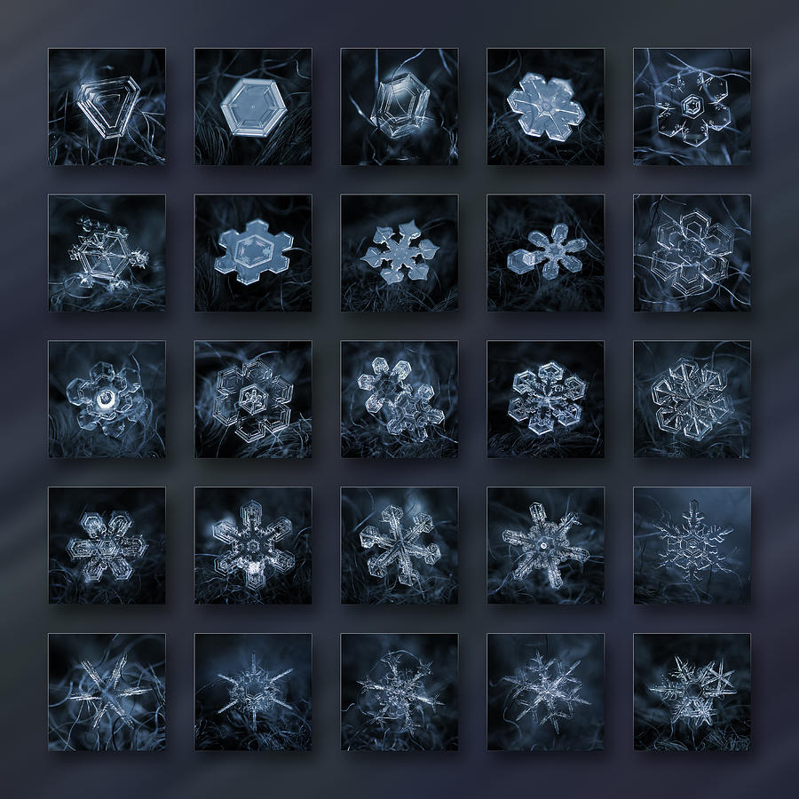 Snowflake collage - Season 2013 dark crystals by Alexey Kljatov
