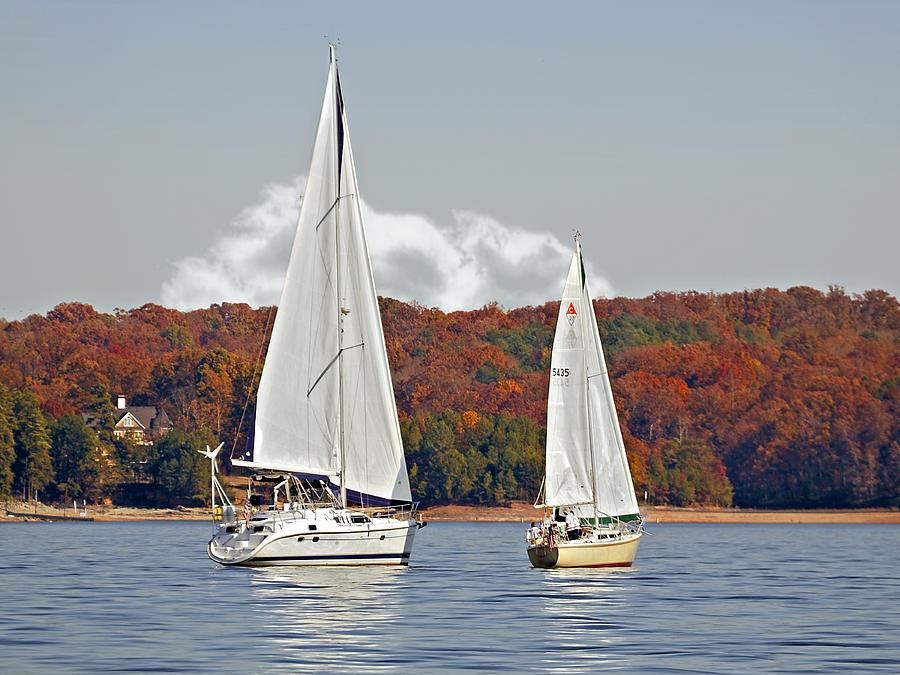 Two Photograph - Seasonal Sailing by Susan Leggett