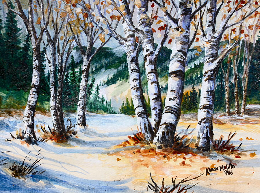 Winter Landscape Painting - Seasonal Transition by Karon Melillo DeVega