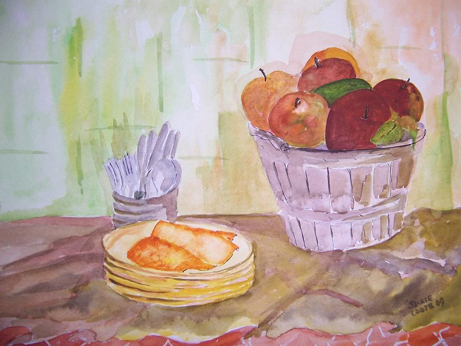 Basket Of Apples Painting - Seasons Finest by Jacqueline Coote