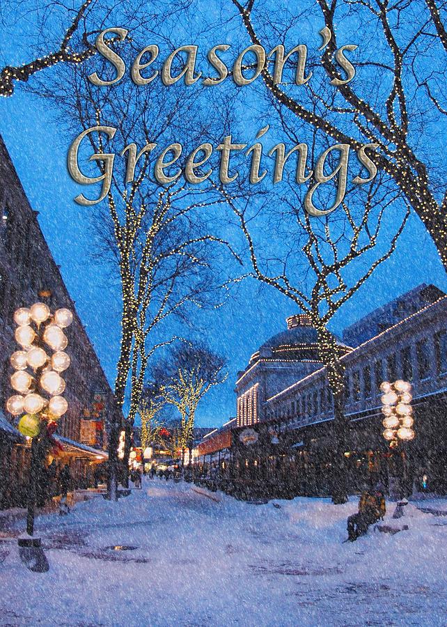 Season\'s Greetings Boston Christmas Card Photograph by Joann Vitali