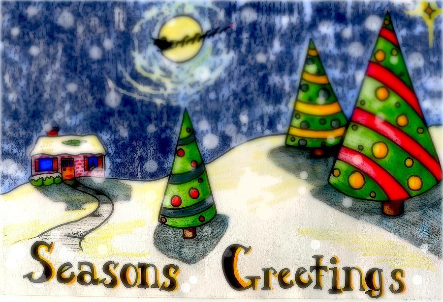 Santa Drawing - Seasons Greetings by Jame Hayes