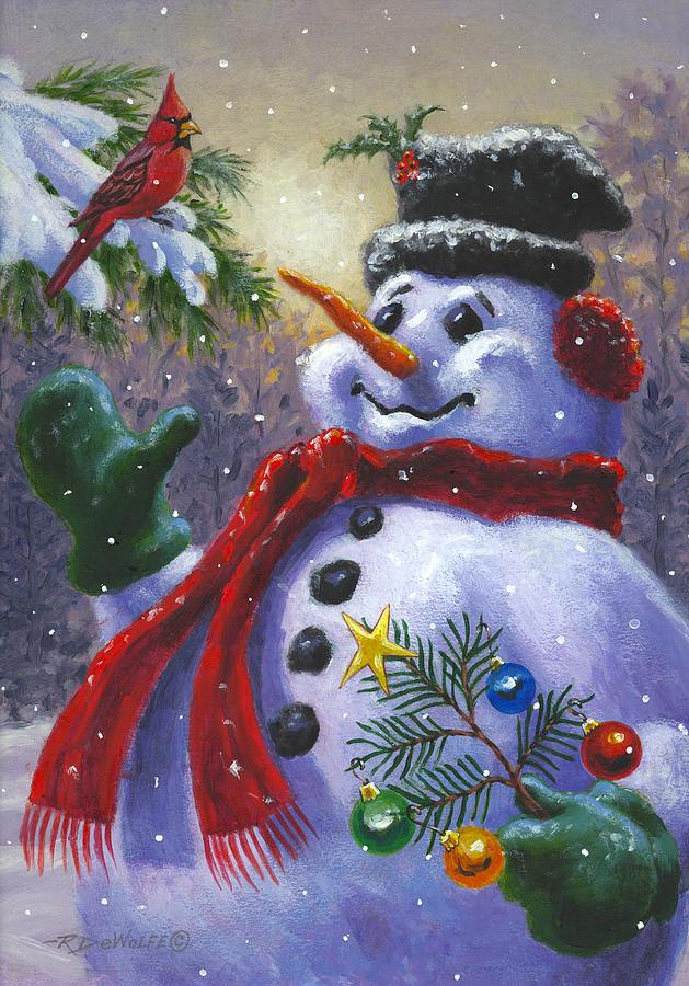 Snowman Painting - Seasons Greetings by Richard De Wolfe