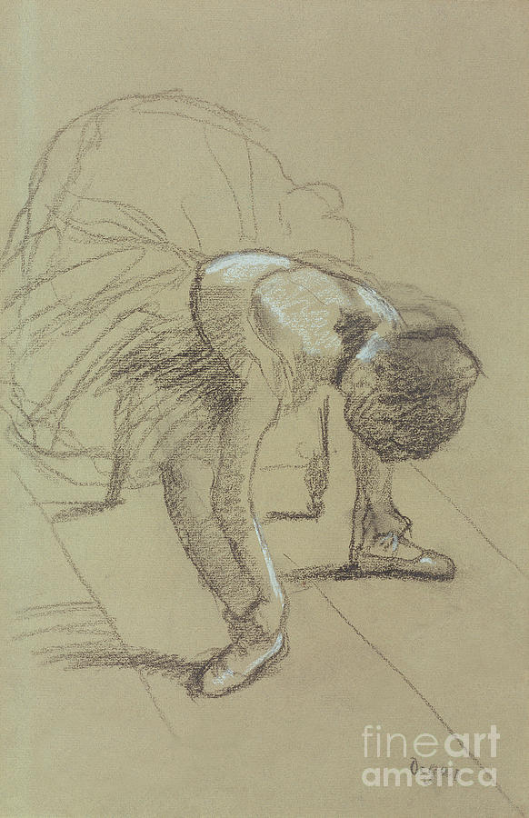 Female Drawing - Seated Dancer Adjusting Her Shoes by Edgar Degas