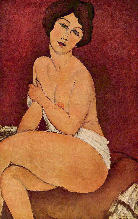Seated Female Nude Painting - Seated Female Nude by Amedeo Modigliani