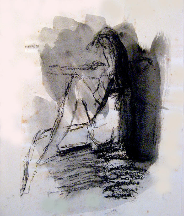 Ink Painting - Seated Figure Ink Wash by James Gallagher