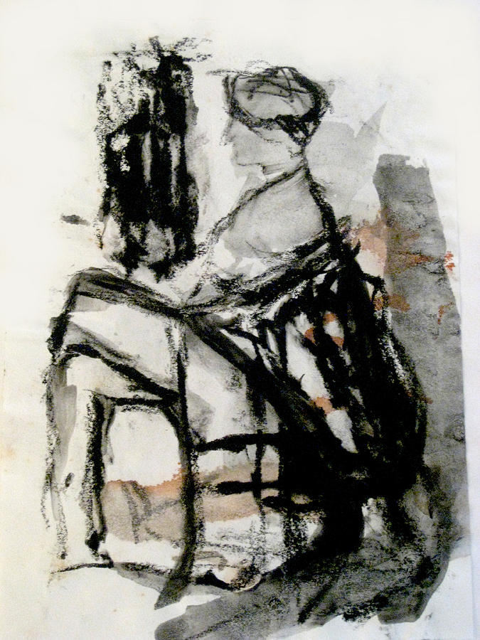 Charcoal Painting - Seated Figure by James Gallagher
