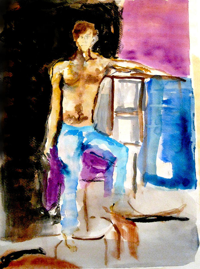 Watercolor Painting - Seated Male by James Gallagher