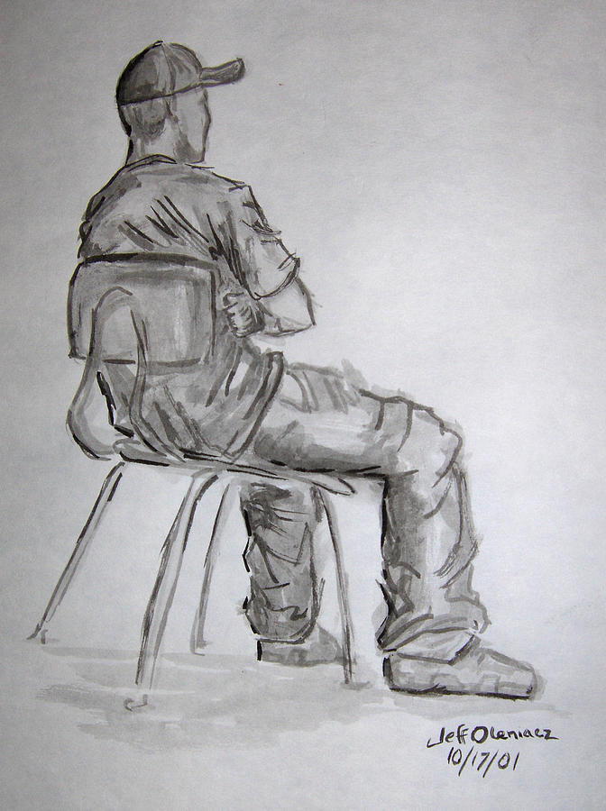 Figure Drawing - Seated Man In Ball Cap by Jeffrey Oleniacz