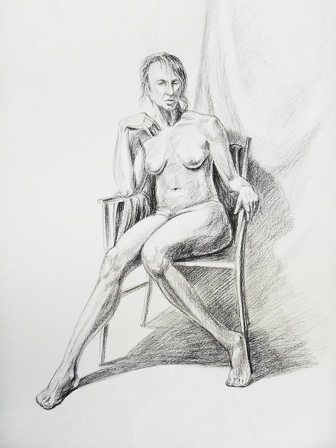 Nude Drawing - Seated Nude Model Study by Irina Sztukowski
