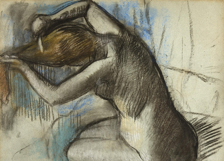 Degas Drawing - Seated Nude Woman Brushing Her Hair by Edgar Degas