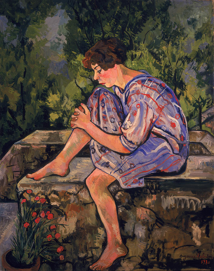 Sitting Painting - Seated Young Woman by Marie Clementine Valadon