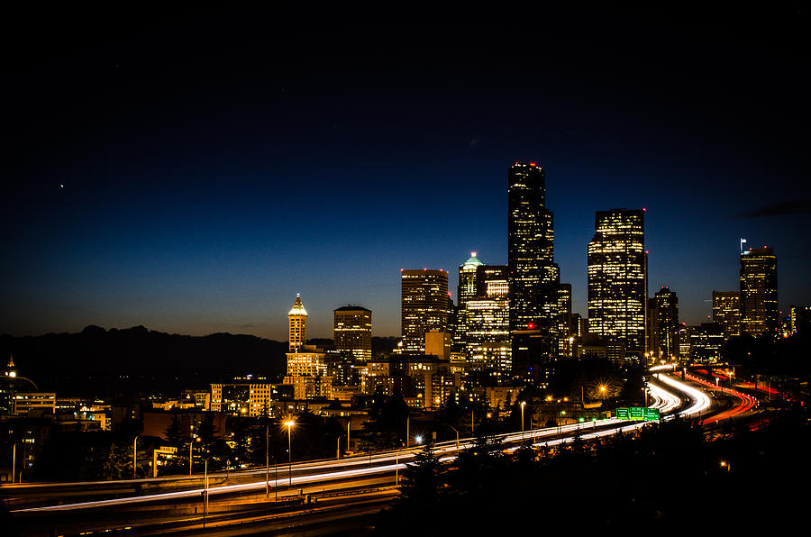Downtown Seattle Photograph - Seattle At Night by Brian Xavier
