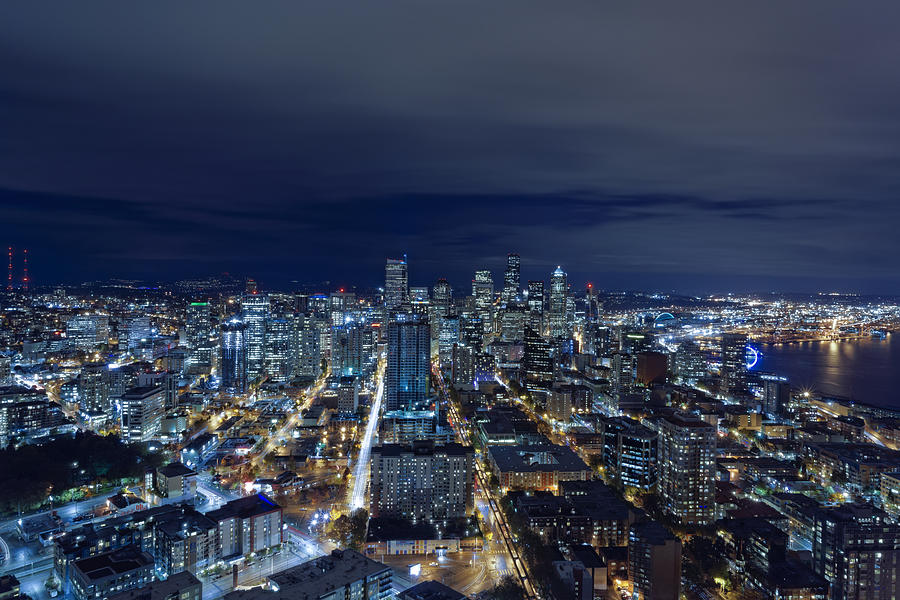 Seattle Blue Hour Photograph