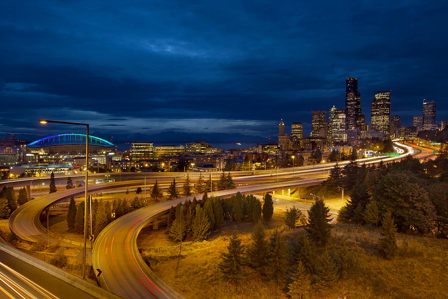 Seattle Photograph - Seattle City Skyline at Blue Hour by David Gn