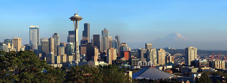 Seattle City Skyline With Mt. Rainier Photograph by ...