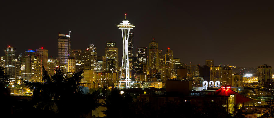 Seattle Photograph - Seattle Downtown Skyline Evening Panorama by David Gn
