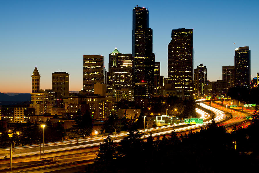 Seattle Photograph - Seattle Downtown Skyline Evening View by David Gn