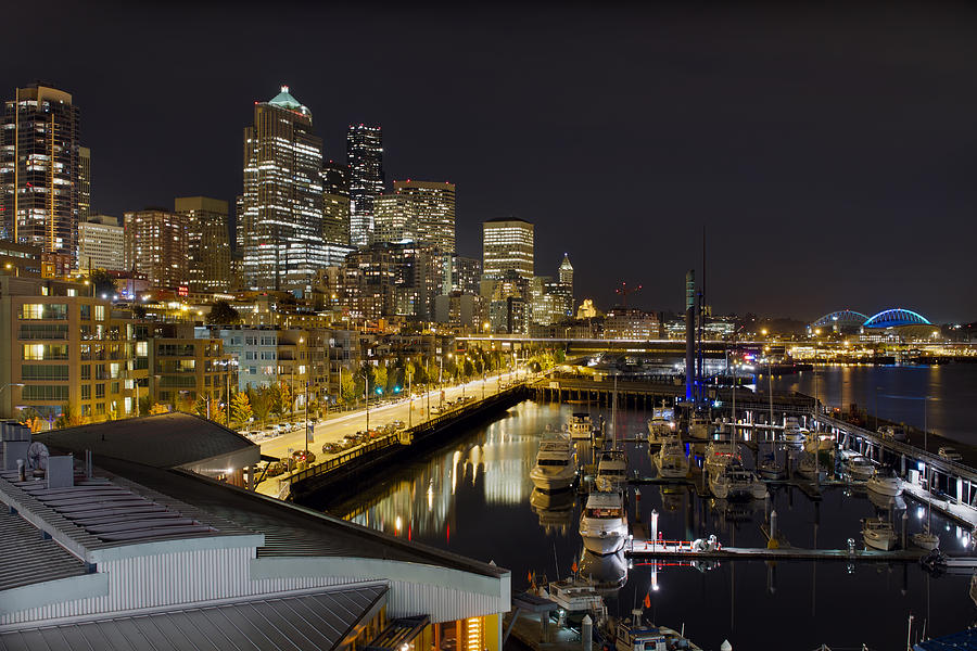 Seattle Photograph - Seattle Downtown Skyline Waterfront Marina by David Gn