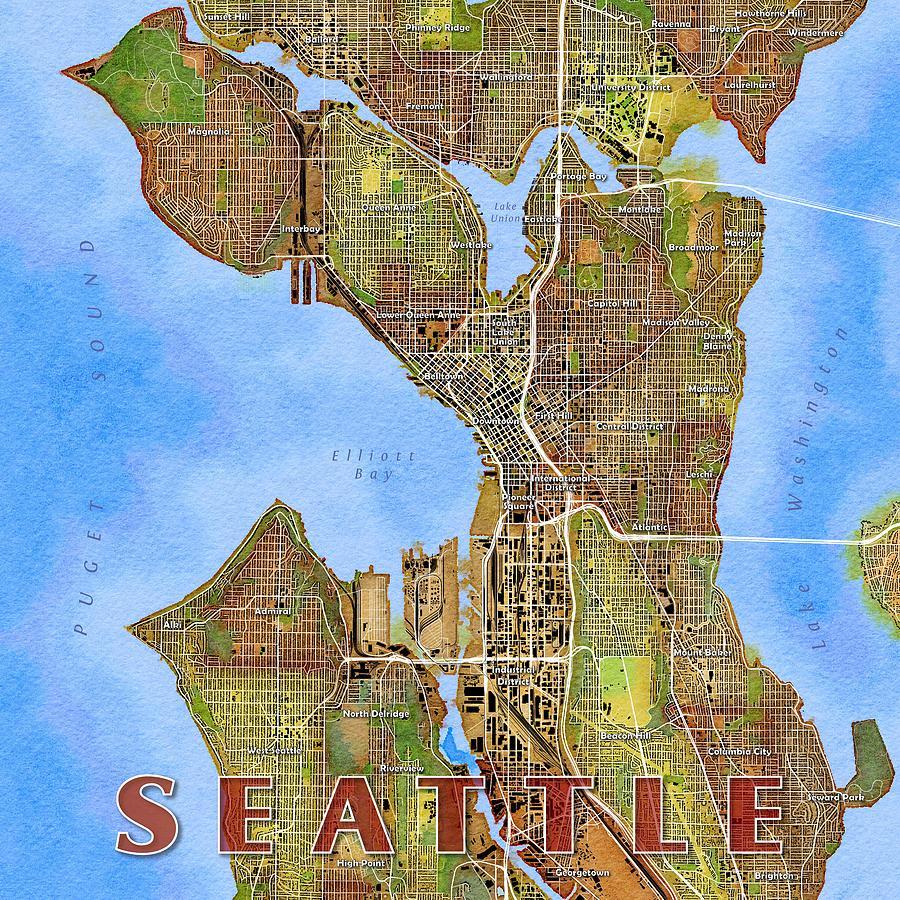 Seattle Map Art Digital Art By Paul Hein