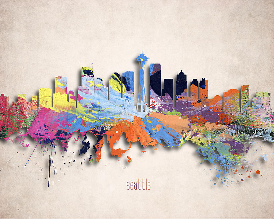 Seattle Painted City Skyline Digital Art By World Art Prints And Designs