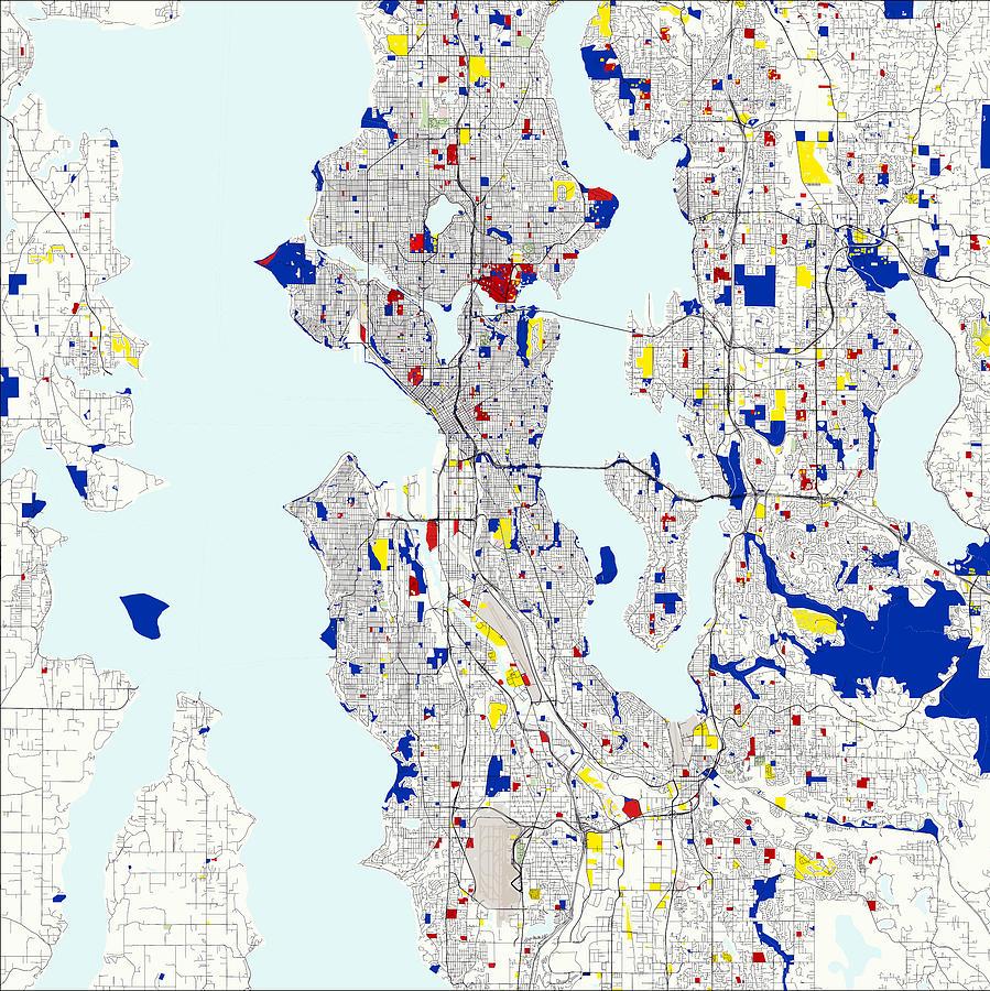 Seattle Piet Mondrian Style City Street Map Art Digital Art by