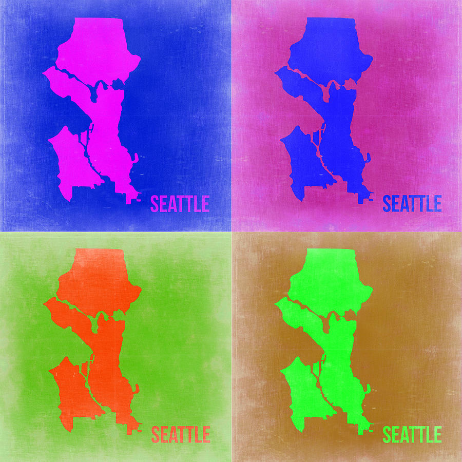 Seattle Painting - Seattle Pop Art Map 2 by Naxart Studio