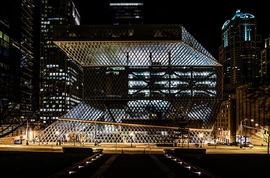 Seattle Photograph - Seattle Public Library At Night by Brian Xavier