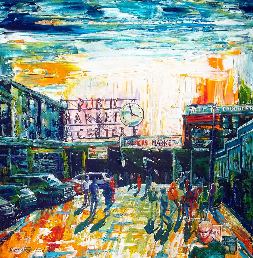 Seattle Painting - Seattle Public Market Center by Suzanne King
