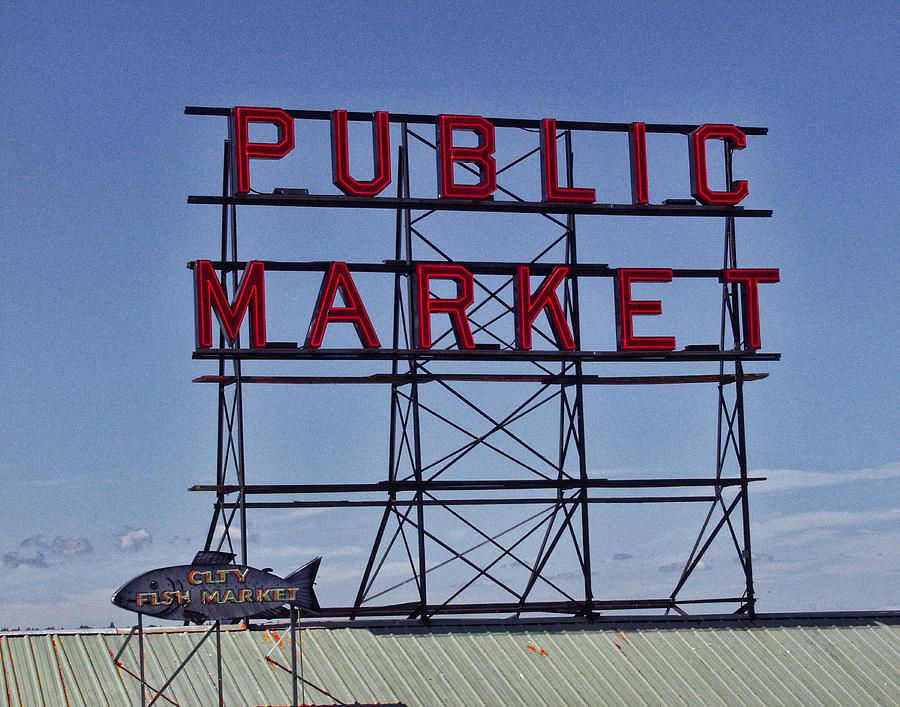 Seattle Photograph - Seattle Public Market by Ron Roberts