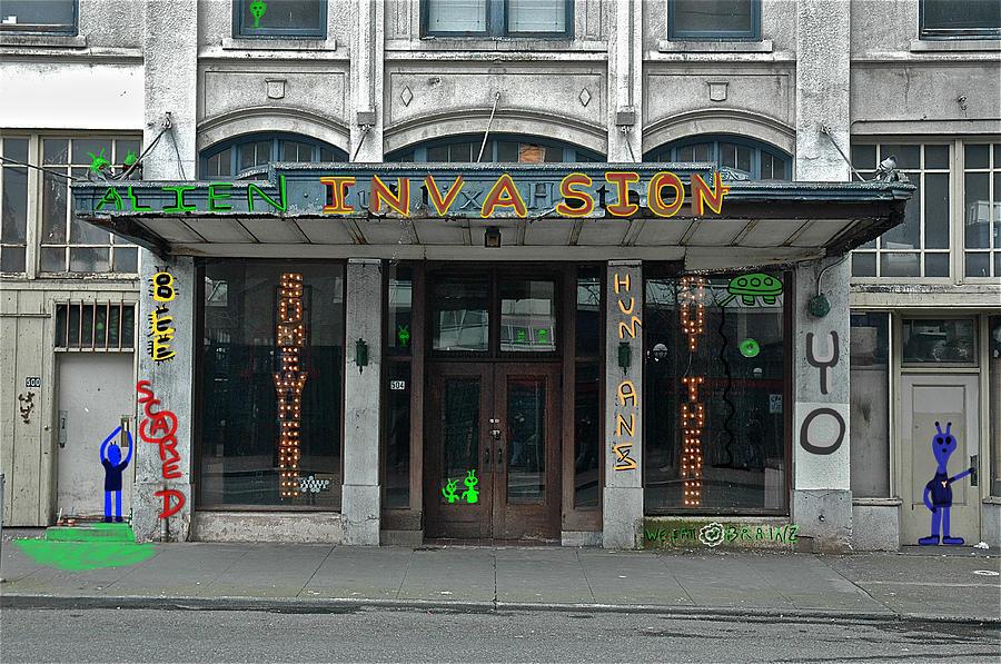 Storefronts Digital Art - Seattle Publix Hotel by John Hines