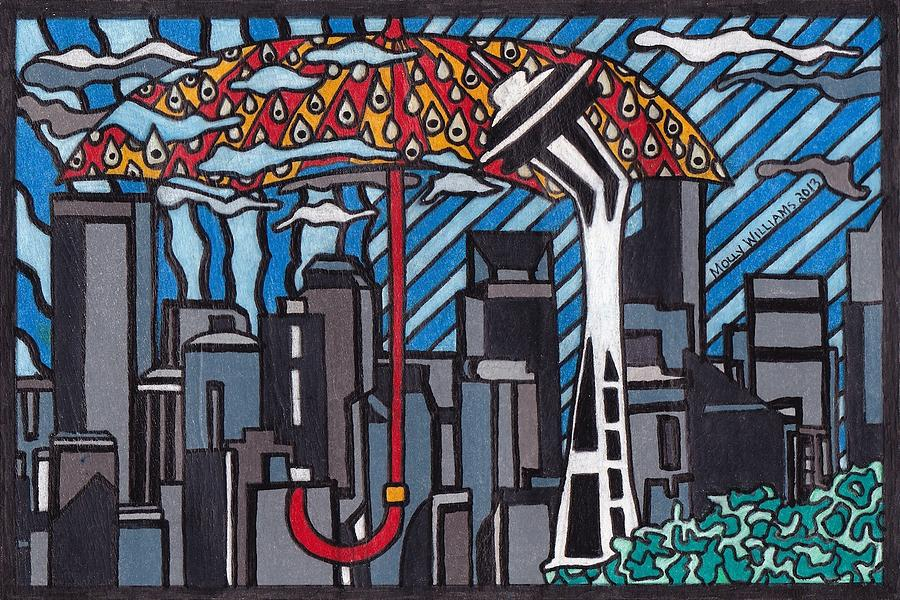 Seattle Drawing - Seattle Rain by Molly Williams