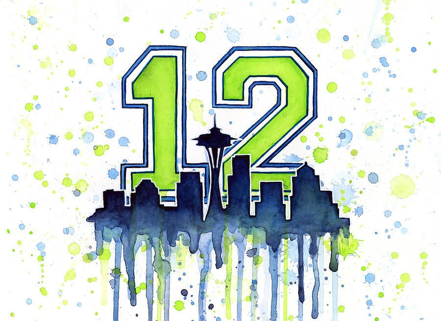 Seattle Seahawks 12th Man Art Painting by Olga Shvartsur