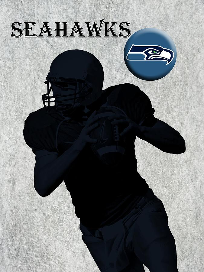 Seahawks Digital Art - Seattle Seahawks Football by David Dehner