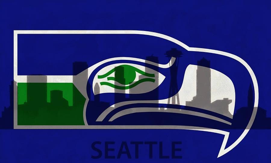 Nfl Digital Art - Seattle Seahawks On Seattle Skyline by Dan Sproul
