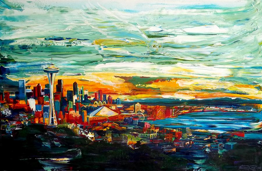 Seattle Painting - Seattle Sky by Suzanne King