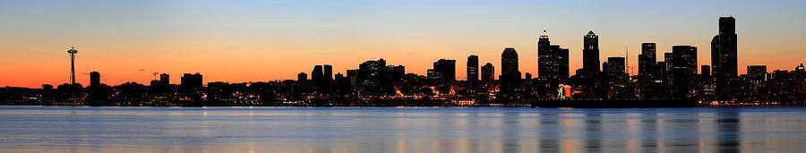 Seattle Photograph - Seattle Skyline And Puget Sound At Sunrise by David Gn