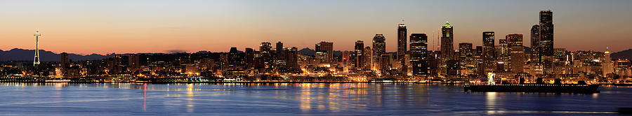 Puget Photograph - Seattle Skyline At Dawn Along Puget Sound by David Gn