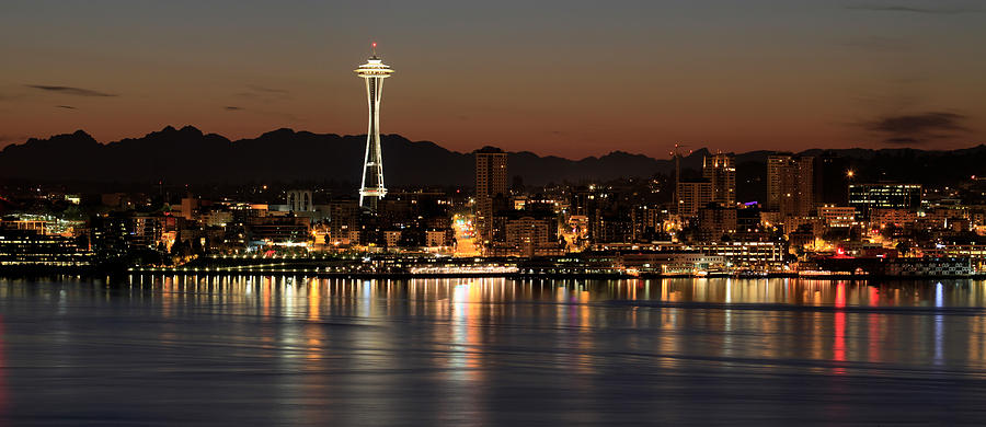 Seattle Photograph - Seattle Skyline At Night By The Pier Panorama by David Gn