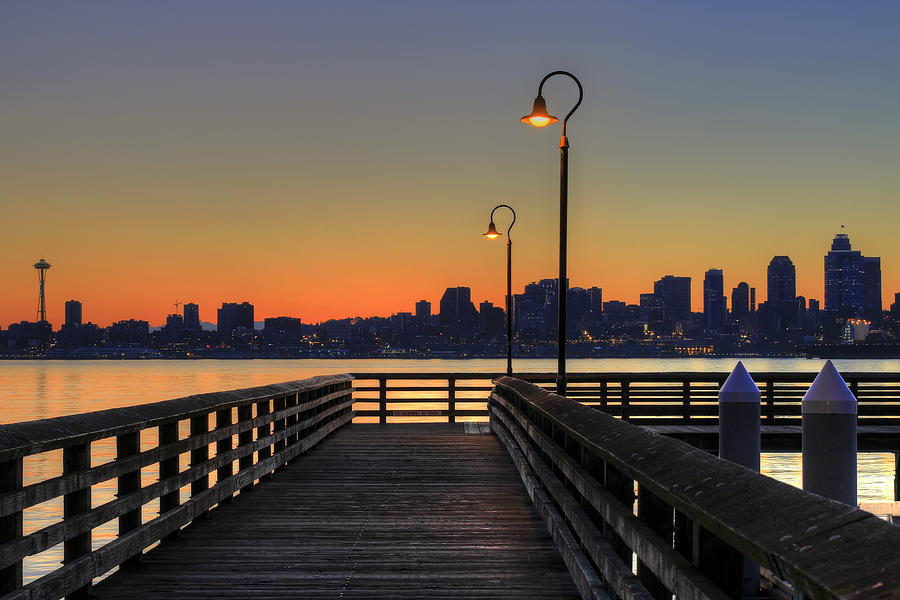 Seattle Photograph - Seattle Skyline From The Pier At Sunrise by David Gn