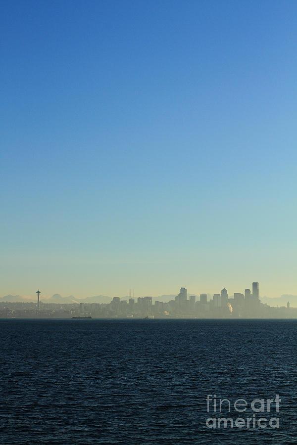 Blue Photograph - Seattle Skyline by Hans Koepsell
