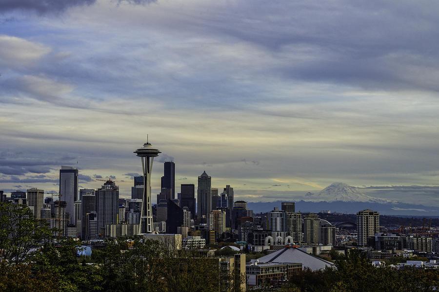 Seattle Skyline Sunset Photograph