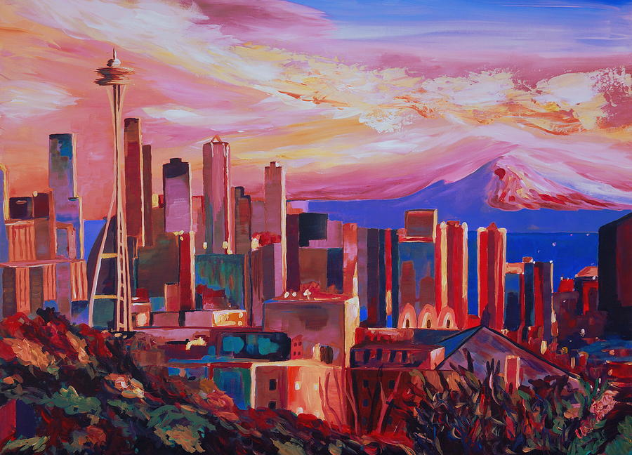 Seattle Painting - Seattle Skyline With Space Needle And Mt Rainier by M Bleichner
