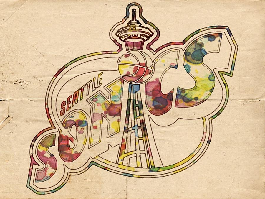 Seattle Supersonics Painting - Seattle Sonics Retro Poster by Florian Rodarte