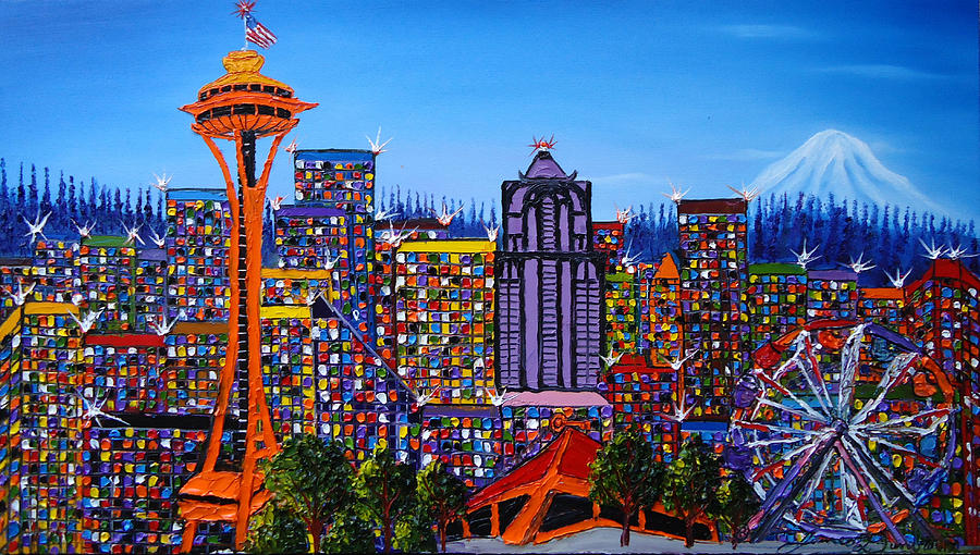 Seatlle Space Needle Painting - Seattle Space Needle #6 by Portland Art Creations