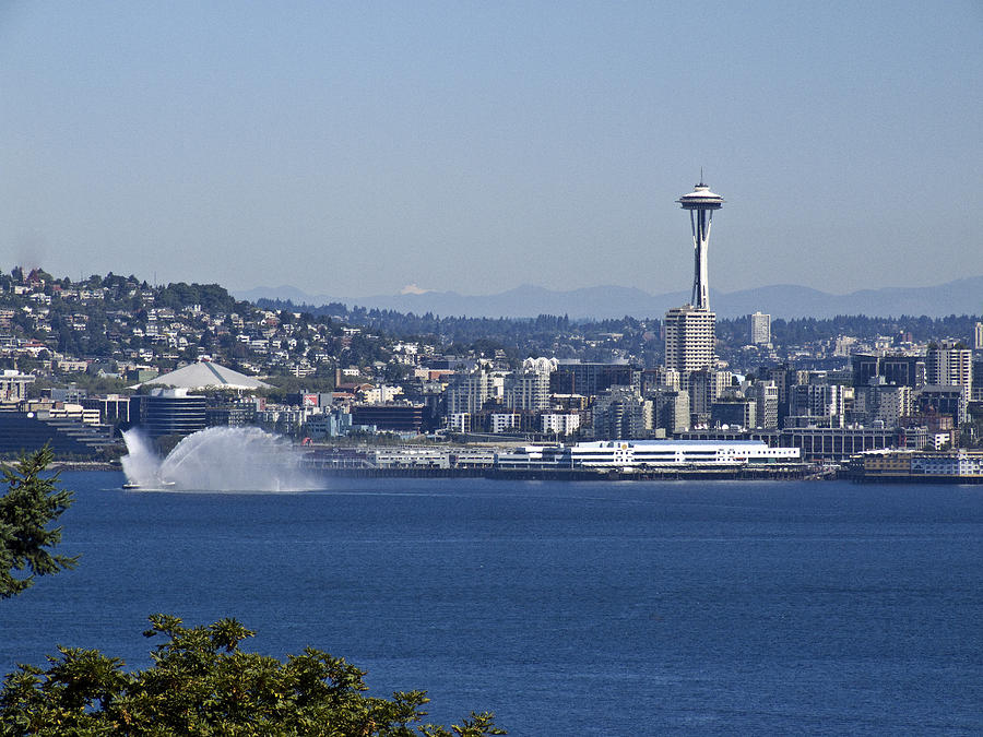 Seattle Photograph - Seattle Space Needle And Fire Boat by Ron Roberts