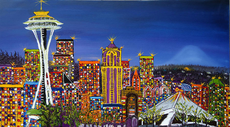 Seatlle Space Needle Painting - Seattle Space Needle At Dusk by Portland Art Creations
