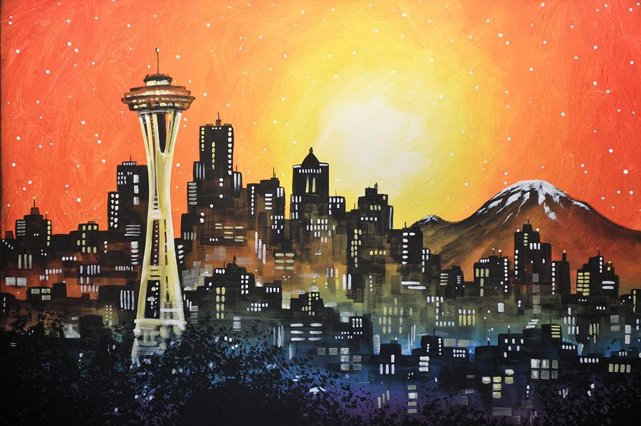 Seattle Painting - Seattle Sunset by Amy Giacomelli