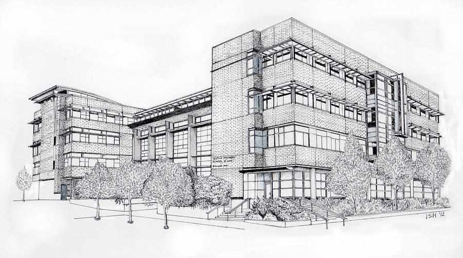 Seattle University Law School Drawing by Inger Hutton