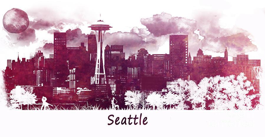 Seattle Digital Art - Seattle Washington skyline by Justyna Jaszke JBJart